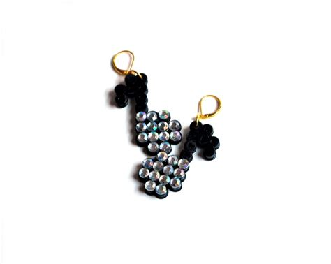 perler bead earrings black perler eighth note earrings perler
