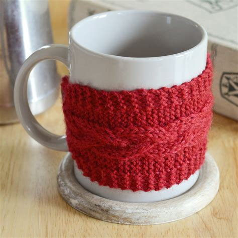 knitted mug cosy free pattern diy braided cable mug cosy with free pattern