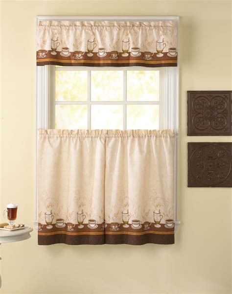 cafe curtains kitchen caf 233 au lait kitchen curtain tier and valance