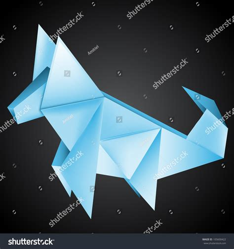 origami husky origami paper husky stock vector illustration