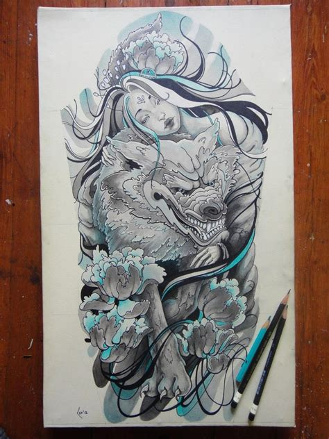 tattoo design princess of wolves sleeve by xenija88 on