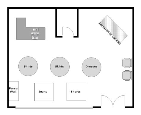 floor plan of retail store clothing store layout