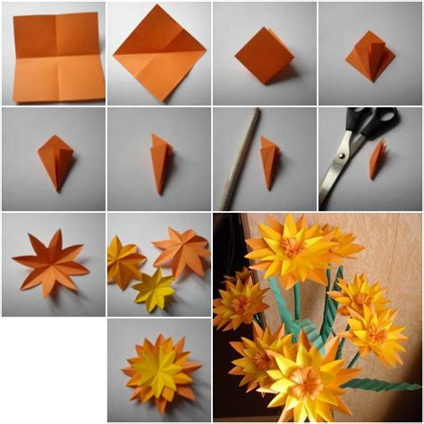 how to make a paper flower origami step by step how to make paper marigold flower step by step diy