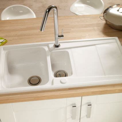 cooke and lewis kitchen sinks cooke lewis passo 1 5 bowl white gloss ceramic sink