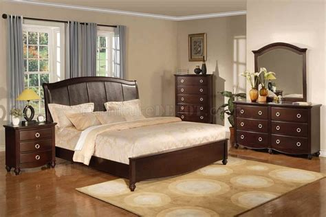 black brown bedroom furniture brown transitional bedroom set w faux leather headboard