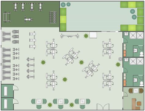 fitness center floor plans and spa area plans solution conceptdraw