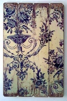 decoupage onto wood decoupage wallpaper onto weathered reclaimed pallet