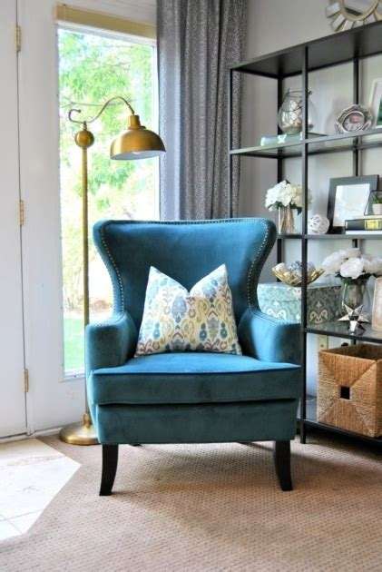blue chairs for living room home living room with blue accent chair with arms vintage