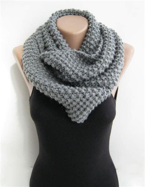 loop knit scarf gray infinity scarf knit loop scarf titanium grey by sascarves