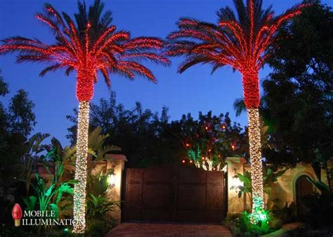 palm tree with lights tree wrapping and tree lighting mobile illumination