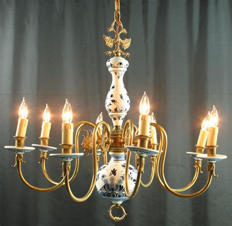 delft chandelier vintage 1950 blue delft chandelier from