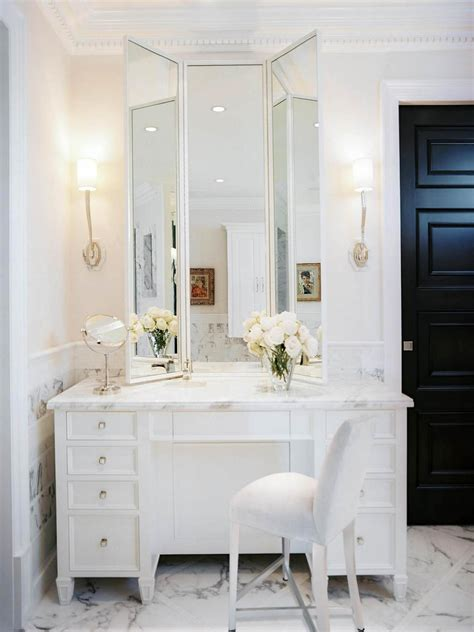 makeup vanity in bathroom transitional bathroom photos hgtv