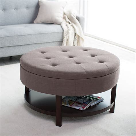 coffee table with storage ottomans magazine bookshelf brown color fabric ottoman