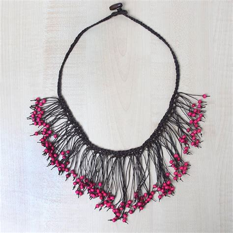 knitted beaded necklace o grace pink wood beaded knit necklace jewelry forest