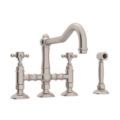 kitchen faucet stores shop rohl country kitchen satin nickel 2 handle deck mount bridge kitchen faucet at lowes