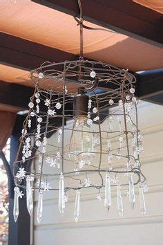 tomato cage chandelier l shade frame with found chandelier crystals diy