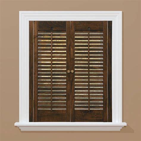 wooden shutters interior home depot homebasics traditional real wood walnut interior shutter