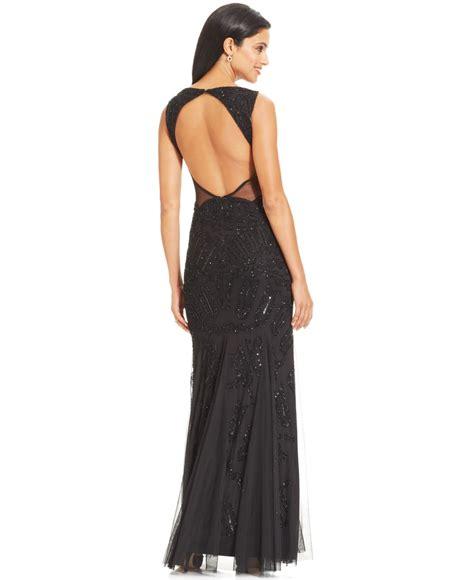 sleeveless beaded mermaid gown papell sleeveless beaded mermaid gown in black lyst