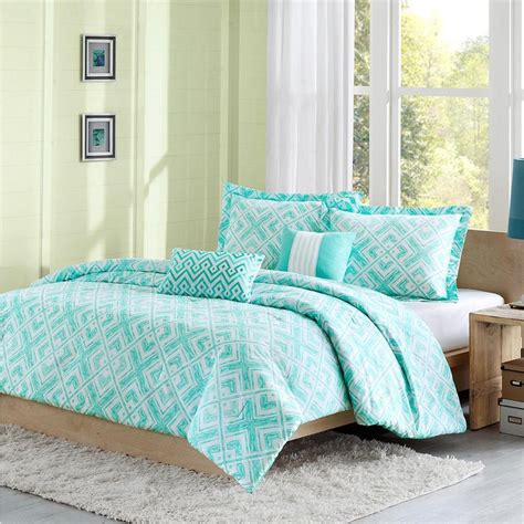 teal comforters sets beautiful 5pc blue teal aqua green modern chevron stripe