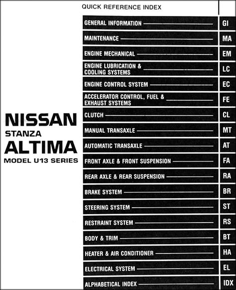 auto repair manual online 1996 nissan altima security system 1996 nissan stanza altima shop manual 96 original repair service xe gxe se gle ebay