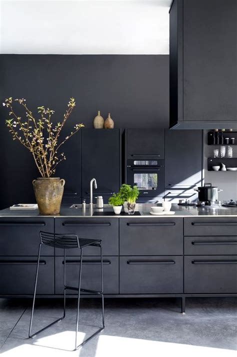 black metal kitchen cabinets picture of cozy industrial all black kitchen clad with metal