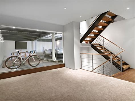 Garage Shop Design Ideas lower garage and stairs contemporary basement