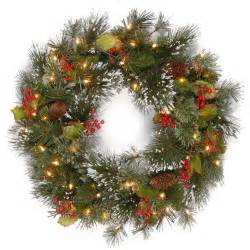 lit wreaths 2ft pre lit wintry pine artificial wreath