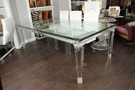 acrylic dining room table lucite dining table with banded legs and glass top at 1stdibs