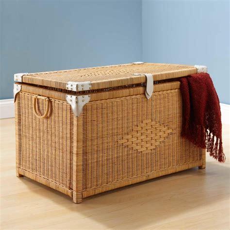 rattan bathroom storage 32 quot accented rectangular rattan storage trunk