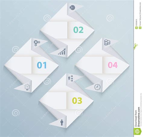 origami graphic design infographic template with origami paper squares royalty