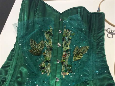 beaded corset wip beaded green velvet leaf pagan mayday corset
