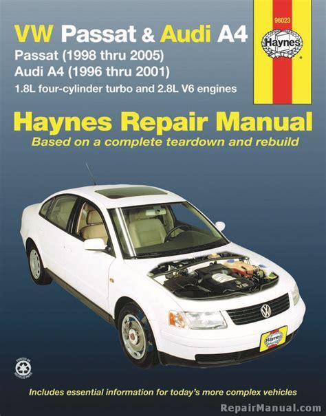 car repair manual download 2004 audi a4 auto manual haynes vw passat 1998 2005 audi a4 1996 2001 auto repair manual