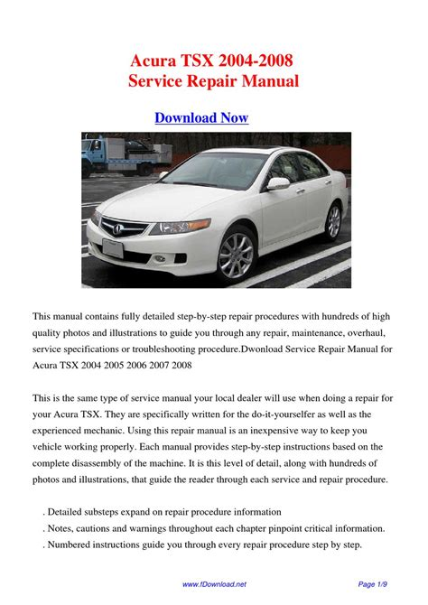 2004 2008 acura tsx factory service manual original shop repair factory repair manuals service manual online repair manual for a 2004 acura tsx acura tsx 2003 2004 2005 2006 2007
