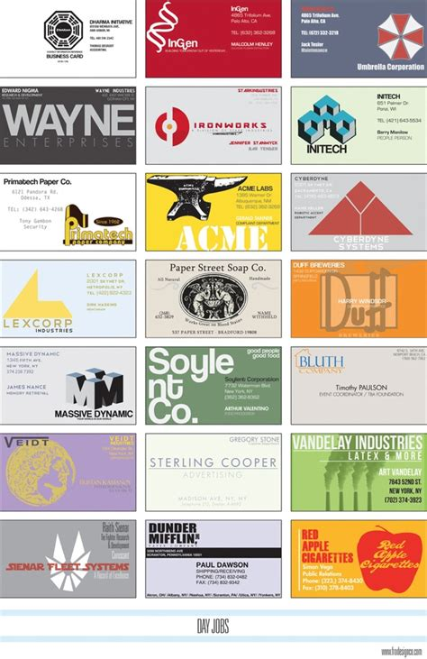 card companies business cards for fictional companies