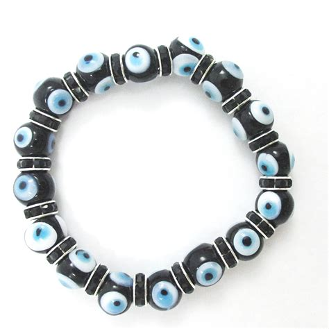 evil eye glass bead bracelet evil eye lwork glass stretch bracelet 7 quot hamsa
