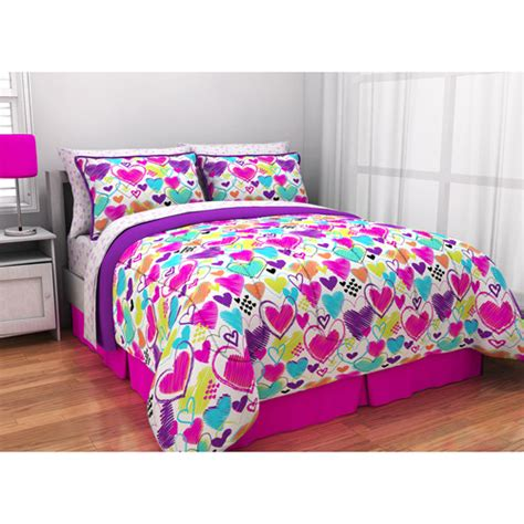 bright bedding latitude bright hearts bed in a bag bedding set walmart