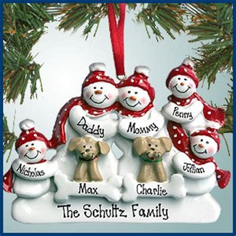 personalized family ornaments with pets personalized ornaments snowman
