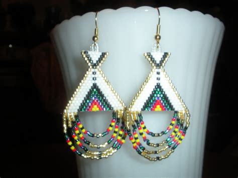 beaded earrings american beaded earrings teepee american