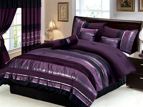 purple and black comforter set new 7 pc size royal purple black silver striped