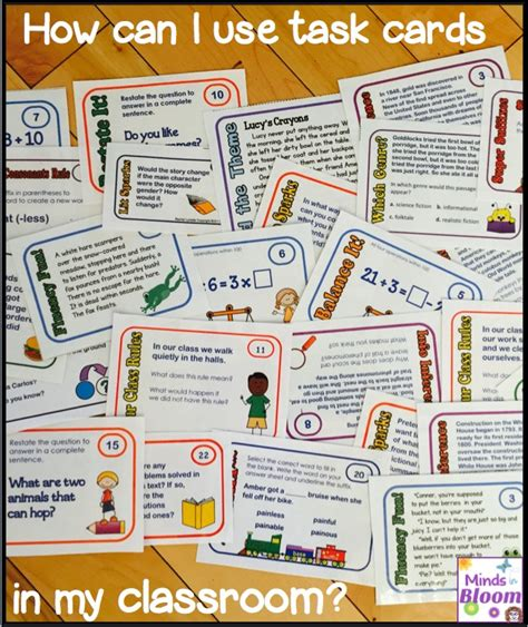 task cards ways to use task cards in the classroom minds in bloom