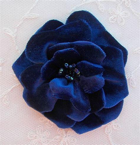 beaded velvet fabric glass beaded royal blue velvet fabric flower hat corsage