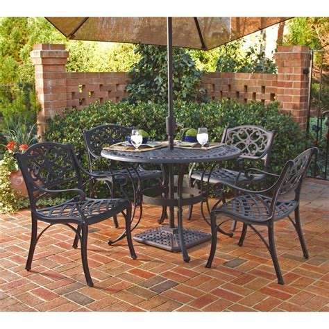 5 patio dining set shop home styles biscayne 5 black aluminum patio