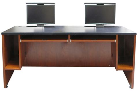computer desk dual monitor ds 7230 dual user desk two monitor lifts exact furniture