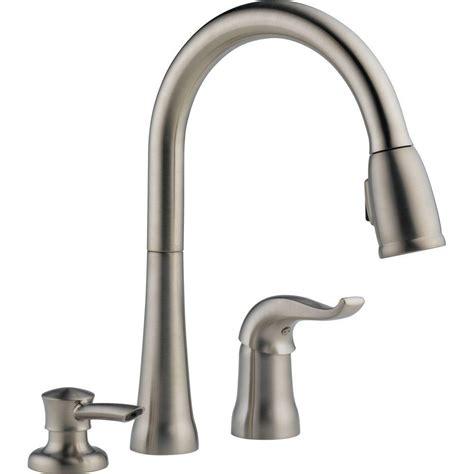 delta brushed nickel kitchen faucet delta brushed nickel pull faucet pull brushed