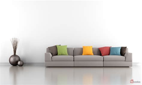white sofa in living room minimalist living room with white wall and colorful sofa