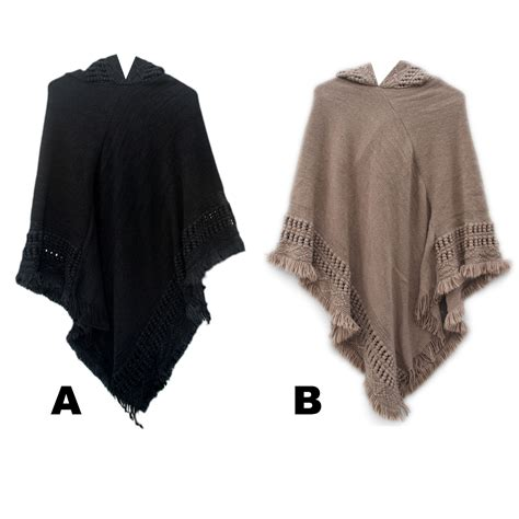 knitted hooded poncho s custom knit pattern hooded fashion ponchos