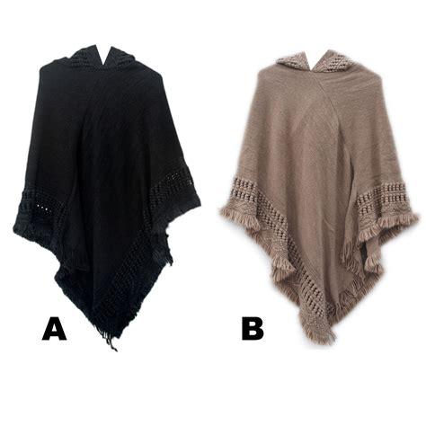 womens knit poncho s custom knit pattern hooded fashion ponchos