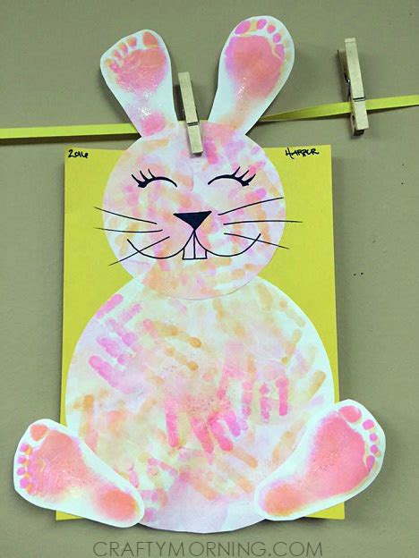 bunny crafts for footprint handprint easter bunny craft for crafty