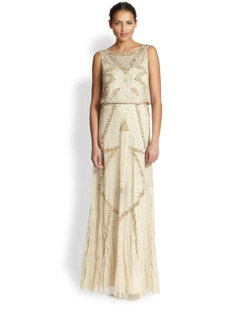gold beaded gowns aidan mattox beaded deco gown in gold light gold lyst