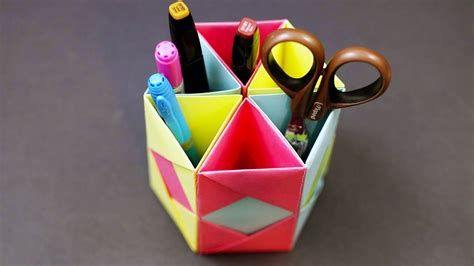 origami useful items origami pencil holder desk organizer diy paper craft